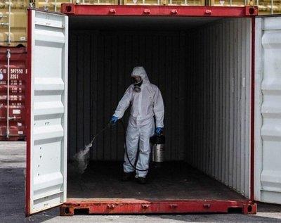 Sistema de desinfección de contenedores específico para COVID19
